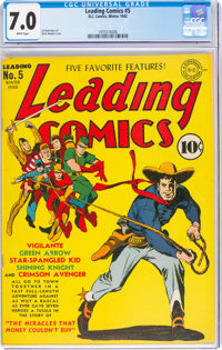 Leading Comics #5 (DC, 1942) CGC FN/VF 7.0 White pages