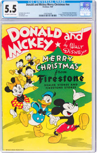 Donald and Mickey Merry Christmas #nn (K. K. Publications, Inc., 1945) CGC FN- 5.5 Off-white to white pages