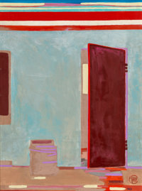 Françoise Gilot (French, b. 1921) Half-opened door in India, 1982 Oil on canvas 32 x 24 inches (81.3 x 61.0 cm) S...