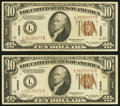 Small Size:World War II Emergency Notes, Fr. 2303 $10 1934A Hawaii Federal Reserve Notes. Two Examples. Very Fine or Better.. ... (Total: 2 notes)