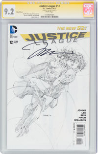 Justice League #12 Sketch Cover - Signature Series: Jim Lee (DC, 2012) CGC NM- 9.2 White pages
