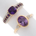 Estate Jewelry:Rings, Amethyst, Diamond, Gold Rings. ... (Total: 2 Items)