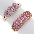Estate Jewelry:Rings, Pink Sapphire, Diamond, Gold Rings. ... (Total: 2 Items)