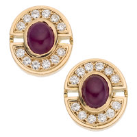 Ruby, Diamond, Gold Earrings