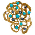 Estate Jewelry:Brooches - Pins, Sapphire, Diamond, Turquoise, Gold Pendant-Brooch. ...