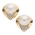 Estate Jewelry:Earrings, Mabe Pearl, Diamond, Gold Earrings. ...