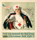 "Movie Posters:War, World War I Propaganda (American National Red Cross, 1918). Fine/Very Fine on Linen. Poster (28"" X 30"") ""Christmas Roll Call..."