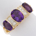 Estate Jewelry:Rings, Amethyst, Diamond, Gold Ring The ring centers ...