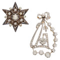 Estate Jewelry:Brooches - Pins, Diamond, Cultured Pearl, Platinum-Topped Gold, Silver-Topped Gold Brooches. ... (Total: 2 Items)