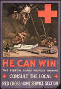 "Movie Posters:War, World War I Propaganda (Red Cross, 1919). Rolled, Fine+. Poster (18.5"" X 27.25"") ""He Can Win!"" Dan Smith Artwork. War.. ..."
