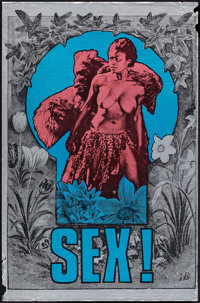 SEX! by Martin Sharp and King Kong (Big O Posters BO2, 1967). Rolled, Fine/Very Fine. Silk Screened Foil Poster (19.75&q...
