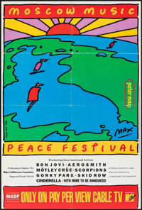 "Moscow Music Peace Festival (MTV, 1989). Folded, Very Fine. Poster (22"" X 33"") Peter Max Artwork. Rock and Rol..."