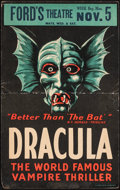 "Movie Posters:Horror, Dracula (Ford's Theatre, 1928). Folded, Fine+. Theater Window Card (14"" X 22""). Horror. . ..."