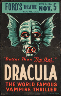 "Dracula (Ford's Theatre, 1928). Folded, Fine+. Theater Window Card (14"" X 22"")"