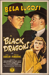 "Black Dragons (Monogram, 1942). Very Fine- on Linen. One Sheet (27"" X 41""). Mystery"