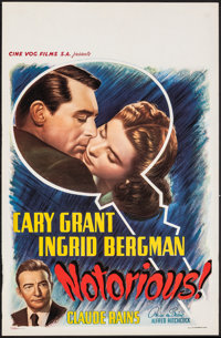"""Notorious (Cine Vog Films, R-1950s). Rolled, Very Fine. Belgian (14"""" X 21.75""""). Hitchcock"""