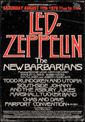 "Movie Posters:Rock and Roll, Led Zeppelin and The New Barbarians at Knebworth Park (Frederick Bannister, 1979). Rolled, Fine+. Concert Poster (17""..."