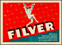 """Filver (c.1930s). Very Fine+. French Advertising Poster (15.75"""" X 11.5"""") Jean D'ylen Artwork. Miscellaneous..."""