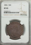 1806 50C Pointed 6, Stem, XF45 NGC. NGC Census: (138/240). PCGS Population: (101/251). XF45. Mintage 839,576. ...(PCGS#...