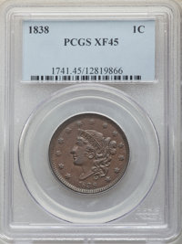 1838 1C XF45 PCGS. PCGS Population: (111/704). NGC Census: (35/529). CDN: $140 Whsle. Bid for NGC/PCGS XF45. Mintage 6,3...