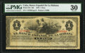 World Paper Money: Cuba Banco Espanol de la Habana 1 Peso 1879 Pick 27d PMG Very Fine 30
