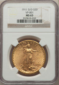 1911-D/D $20 FS-501 MS65 NGC. NGC Census: (109/42). PCGS Population: (159/51). CDN: $2,300 Whsle. Bid for NGC/PCGS MS65...