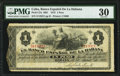 World Paper Money: Cuba Banco Espanol de la Habana 1 Peso 1872 Pick 27a PMG Very Fine 30