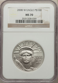 2008-W $100 One-Ounce Platinum Eagle, Burnished, MS70 NGC. NGC Census: (877). PCGS Population: (325). CDN: $3,500 Whsle...