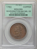 1783 Washington & Independence Cent, Draped Bust, No Button, Copper Restrike, Engrailed Edge, PR62 Brown PCGS. B...