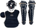Baseball Collectibles:Others, 2003 Jorge Posada Game Worn & Signed New York Yankees Chest Protector, Shin Guards & Mask. ...