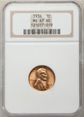 1936 1C MS67 Red NGC. NGC Census: (693/1). PCGS Population: (316/1). CDN: $150 Whsle. Bid for NGC/PCGS MS67. Mintage 309...