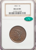Large Cents: , 1852 1C MS64 Brown NGC. CAC. NGC Census: (169/165). PCGS Population: (230/160). CDN: $345 Whsle. Bid for NGC/PCGS MS64. Min...