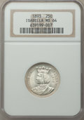 1893 25C Isabella Quarter MS64 NGC. NGC Census: (1023/620). PCGS Population: (1331/826). MS64. Mintage 24,214. ...(PCGS#...