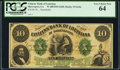 Obsoletes By State:Louisiana, Shreveport, LA- Citizens' Bank of Louisiana $10 18__ G64a Remainder PCGS Very Choice New 64.. ...