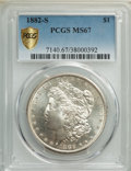1882-S $1 MS67 PCGS. PCGS Population: (1085/72 and 170/11+). NGC Census: (1763/124 and 76/6+). MS67. Mintage 9,250,000...