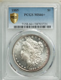 Morgan Dollars: , 1885 $1 MS66+ PCGS. PCGS Population: (1592/189 and 159/32+). NGC Census: (1786/216 and 53/6+). CDN: $200 Whsle. Bid for NGC...