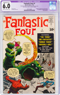 Fantastic Four #1 (Marvel, 1961) CGC Apparent FN 6.0 Moderate (A-3) Cream to off-white pages