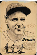 Baseball Collectibles:Others, 1937 Lou Gehrig Signed Original Sketch. ...