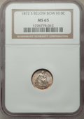 1872-S H10C Mintmark Below, Repunched Date, FS-302, MS65 NGC. NGC Census: (32/17). PCGS Population: (1/1). MS65. ...(PCG...