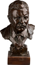 Political:3D & Other Display (1896-present), Theodore Roosevelt: Well Executed Bronze Bust By Gleb W. Derujinsky....