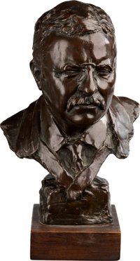Theodore Roosevelt: Well Executed Bronze Bust By Gleb W. Derujinsky