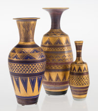 Mary Rich (British, b. 1940) Three Vases, late 20th century Glazed and partial gilt porcelain 11-1/8 inches (28.3 cm)...