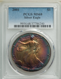 2001 $1 Silver Eagle MS68 PCGS. PCGS Population: (3110/26467). NGC Census: (2664/115803). Mintage 9,001,711. ...(PCGS# 9...