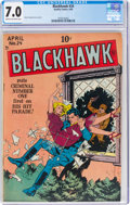 Golden Age (1938-1955):War, Blackhawk #24 (Quality, 1949) CGC FN/VF 7.0 Cream to off-white pages....