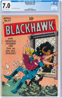 Blackhawk #24 (Quality, 1949) CGC FN/VF 7.0 Cream to off-white pages