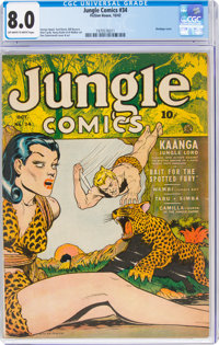 Jungle Comics #34 (Fiction House, 1942) CGC VF 8.0 Off-white to white pages