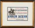 "Advertising:Paper Items, Large Clipper Ship Andrew Jackson Card ""Extra"", c 1861...."