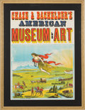 Advertising:Paper Items, Framed Chase & Bachelder's American Museum of Art woodblock poster, Stafford & Co., Nottingham....