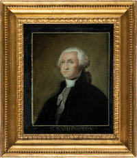 George Washington: Memorial Chinese Export Reverse Portrait on Glass