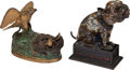 Antiques:Toys, Cast Iron Mechanical Banks: Eagle 7 Eaglets and Bull Dog.... (Total: 2 Items)